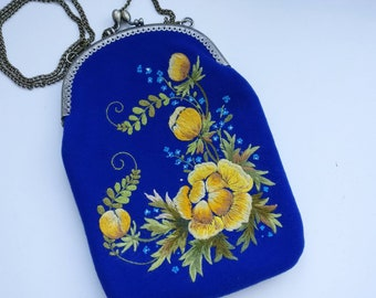 Colorful flower handbag Bohemian mom gift Embroidered pocketbook Chain handle clutch  Small black handbag Girl flower small bag