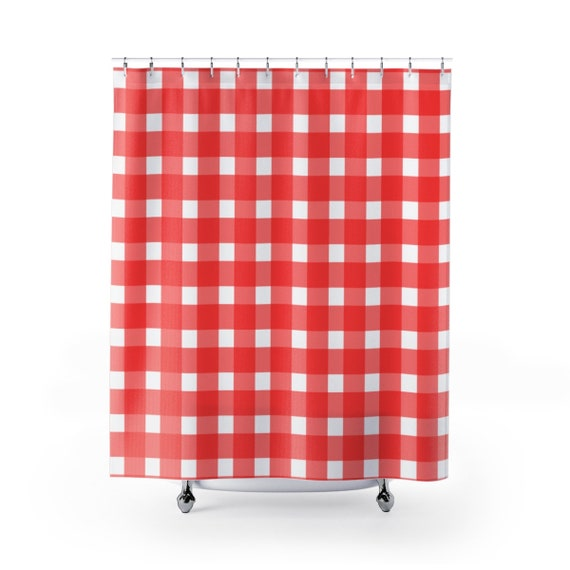 Shower Curtain Gingham Checkers Red Grid