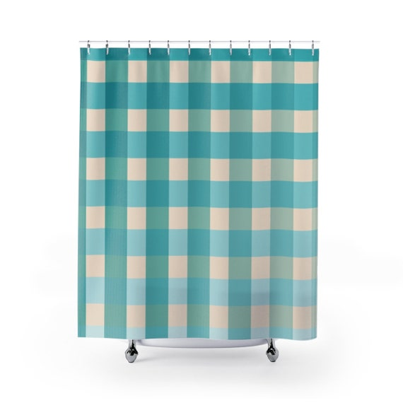 Shower Curtain Gingham Checkers Blue Grid Bathroom Decor Designer Decorative