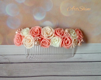 Floral Comb Floral Head Comb Comb with flowers Comb with roses Floral Headband woman Wedding floral comb Flowers hair comb Peach roses comb
