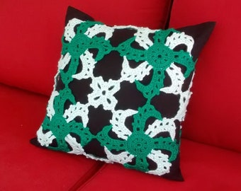 """Crochet Pillowcase for decorative pillow, Colorful motif cushion cover, Throw pillow cover, Crocheted Sham cover,  18"""" x 18"""", green"""