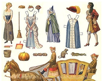 Cinderella 1910's Paper Doll Printable Digital Download 1920's Hellen Pettes Carriage Horseman Fairy Tale Princess