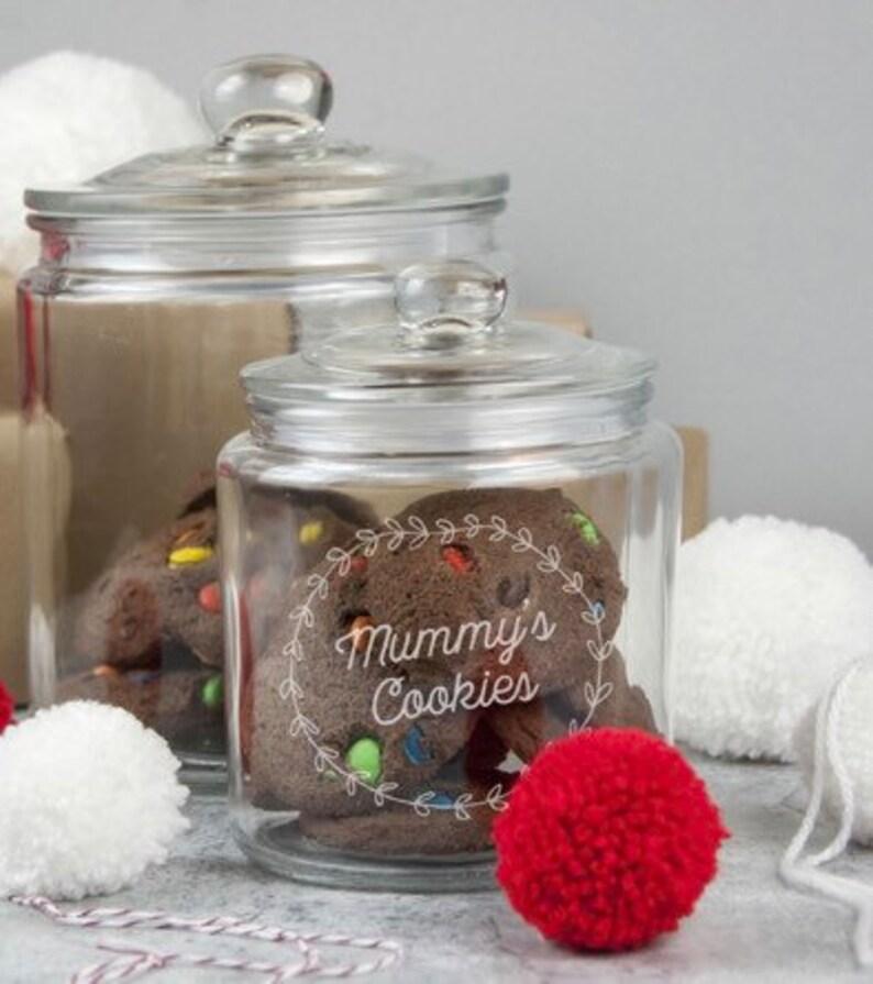 Personalised glass cookie jar storage kitchen pot glass pot with lid large small keepsake sweet jar