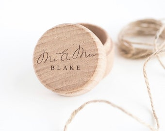 Personalised ring box Mr & Mrs ring bearer box cushion for wedding day rings diamond band wooden beech wood engraved name same sex prefix