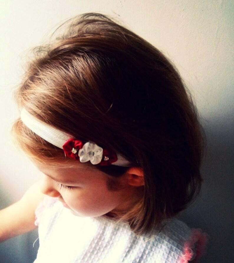 3ad2a891bb Opaska na włosy kwiaty ecru bordowe na chrzest Boże