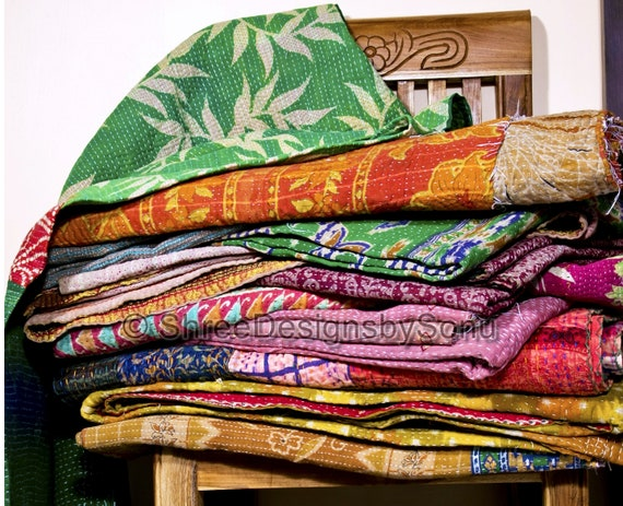 Wholesale Lot Indian Kantha Work Quilts Blankets Throws Bedspreads Gudri Rallli