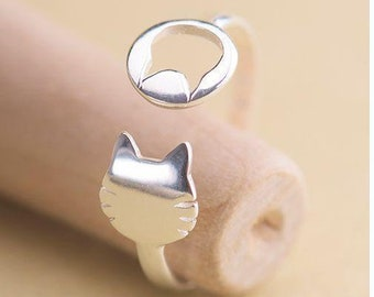 Lovely Kittie Cat Silver Plated Open Adjustable Ring
