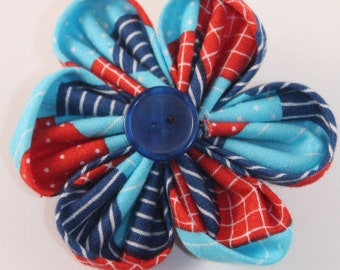 Large Blue & Red Patchwork Orchid Flower Bow
