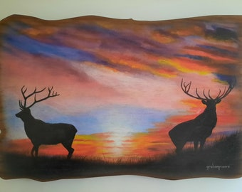 Sunrise Sentries Stags Wall Plaque.