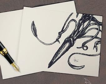 NOTECARD / Kraken/ Geeky stationary / Monsters