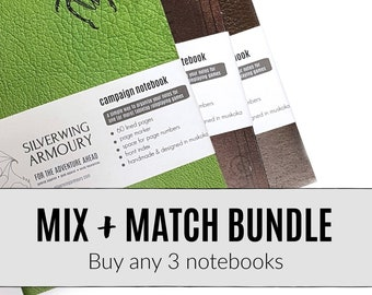 NOTEBOOK BUNDLE - Tabletop RPG Campaign Notebooks / D&D / Dotted, graph, or lined pages