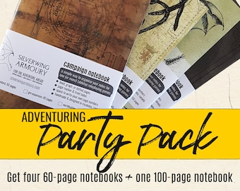 ADVENTURING PARTY PACK - Tabletop rpg Campaign Notebooks / D&D / Dotted, graph, or lined pages