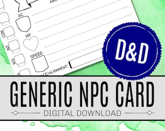 Generic NPC CARD / Dnd DM Resources / Dungeons and Dragons / Rpg / Digital Download