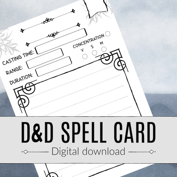 photograph relating to Dnd Spell Cards Printable named DND SPELL CARD / Dungeons and Dragons / Pathfinder / Spellcaster / Rpg / Electronic Obtain