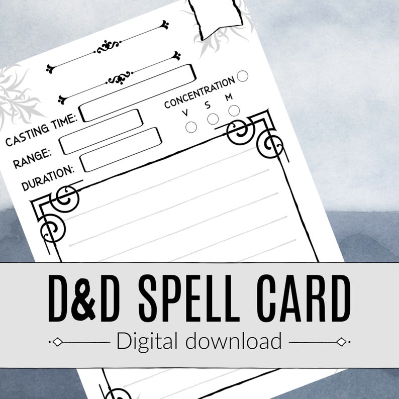 picture about Dnd Spell Cards Printable identify DND SPELL CARD / Dungeons and Dragons / Pathfinder / Spellcaster / Rpg / Electronic Obtain