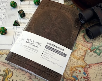Campaign NOTEBOOK / Nordic runes / Traveler's Compass / D&D or Tabletop RPG / Dotted, graph, or lined pages