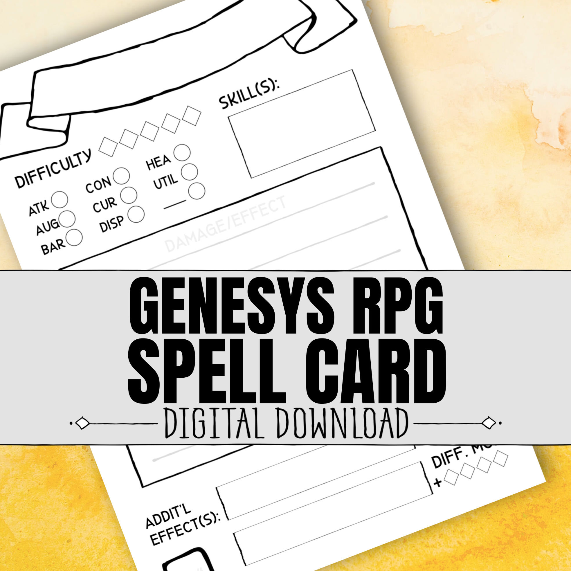 Genesys RPG SPELL CARD / Spellcaster / Rpg / Roleplaying Game / Digital  Download