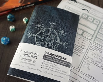 Campaign NOTEBOOK / Winter Mage Spellbook / D&D or Tabletop RPG / Dotted, graph, or lined pages