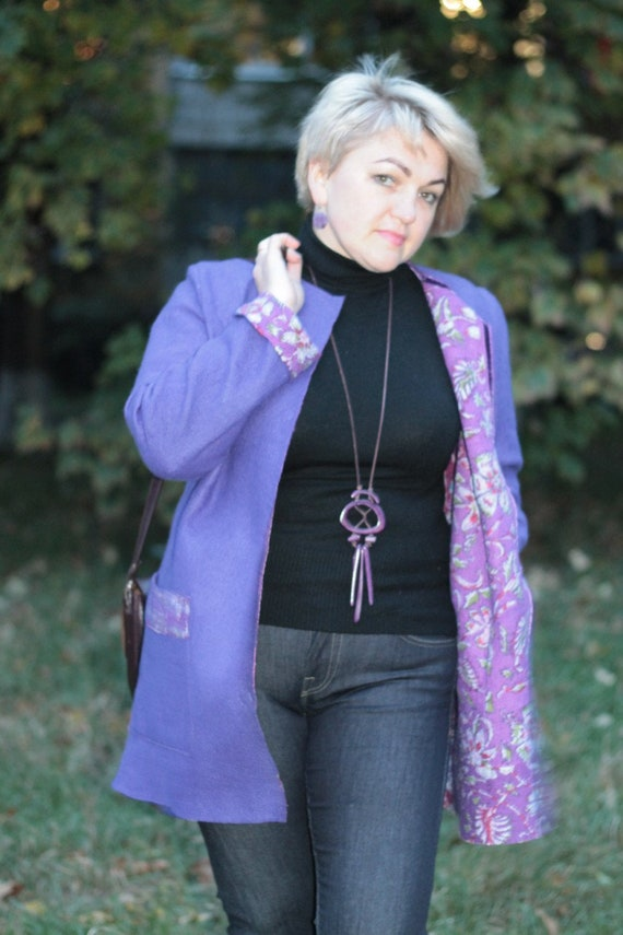 mommy felted cardigan felt lining coat clothing size women Purple jacket floral with short pink vegan wool bohemian boiled plus wool coat E75w0