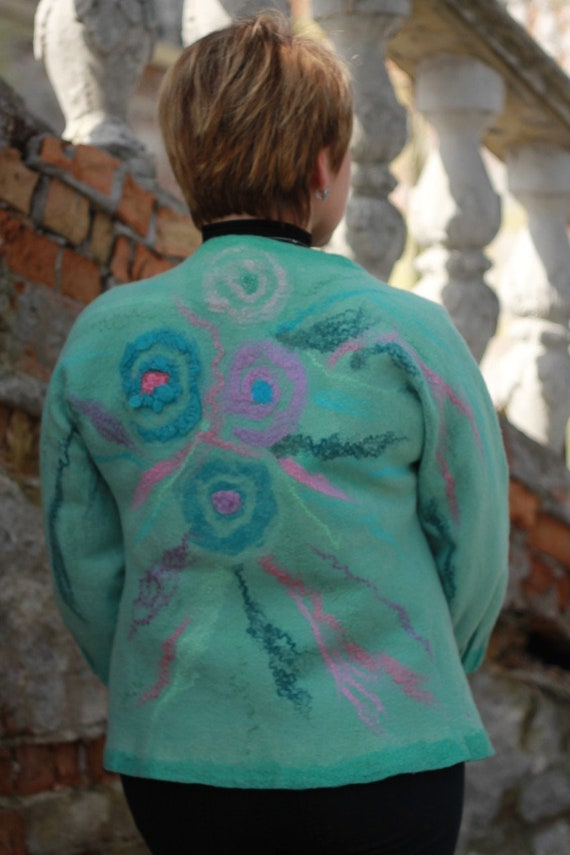 short mother jacket wool flower Turquoise winter with felted fabric spring cardigan merino women jacket boho felt silk clothing coat 0vvRw6Zq