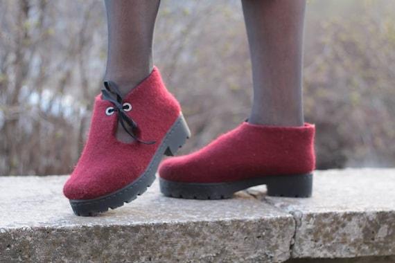 shoes shoes mother organic boots Red boiled gift felted wool winter vegan custom wool merino womens platform shoes felt boots handmade qSZEg