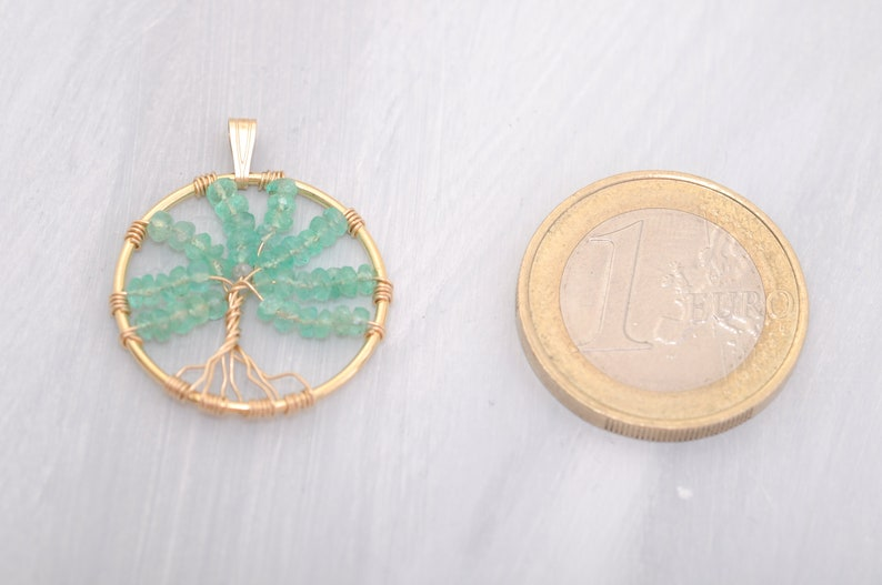 14k gf wire wrapped be unique Life Tree pendant with light green emerald and small diamond