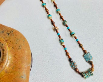Copper Earth Necklace - turquoise, shells, wooden and copper beads