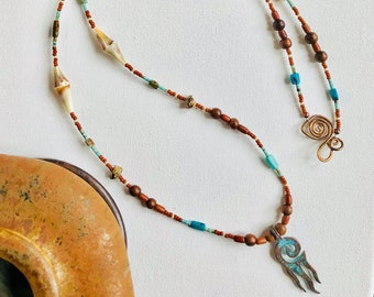 Firewalker Necklace - turquoise, shells, wooden and colored glass beads