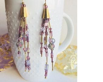 Lilac Earrings \ Lavender Earrings \ Brass Earrings \ Gifts for Her \ Beautiful Earrings \ Lilac Shine Earrings