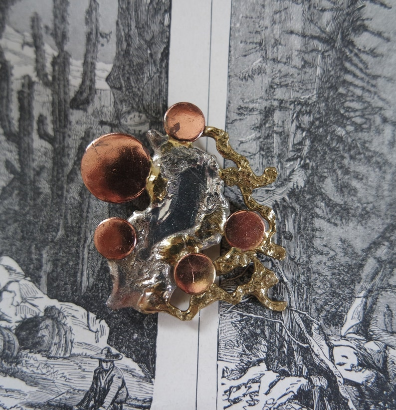 Artisan Mixed Metal Brutalist Brooch Copper Circles on Brass and Silver Background 1970s Avant Garde Jewelry