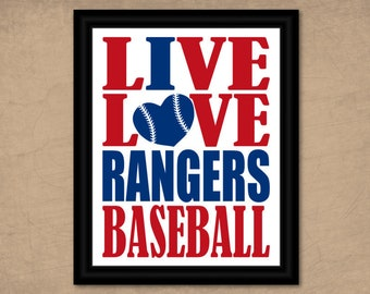 Texas Rangers Wall Art Baseball Printable Sports Fan Gift Idea Live Love I Heart Team Color Print 8x10 Instant Download