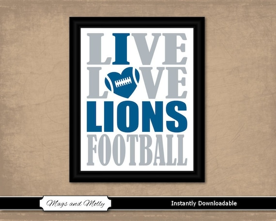 picture regarding Detroit Lions Printable Schedule identified as Detroit Lions Wall Artwork. Soccer Printable Athletics Admirer Reward Notion. Dwell Delight in I Centre Lions Soccer print. 8x10 immediate obtain, staff shades.