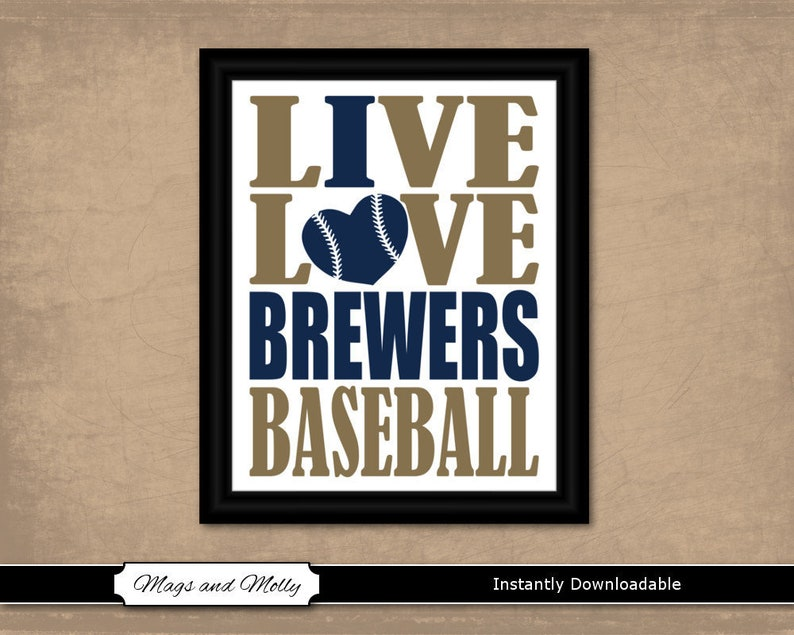 image regarding Brewers Schedule Printable known as Milwaukee Brewers Wall Artwork. Baseball Printable Sporting activities Lover Reward Principle. Dwell Take pleasure in I Centre Brewers Baseball. 8x10 fast obtain, personnel hues.