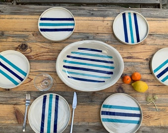White stripes with turquoise blue and dark blue stripes