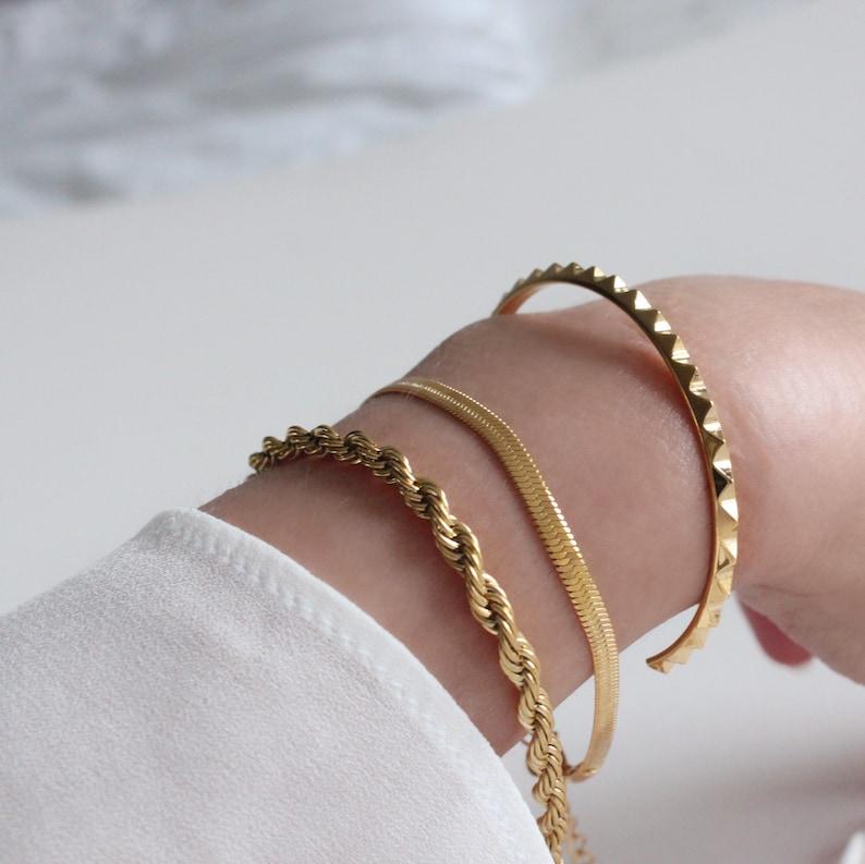 Gold Rope Chain Bracelet Gold Rope Bracelet Chunky Rope Chain Gold Chain Bracelet Adjustable Gold Bracelet Chunky Gold Bracelet