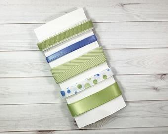 Green & Blue Ribbon Sampler/Ribbon Set/Gift Wrap