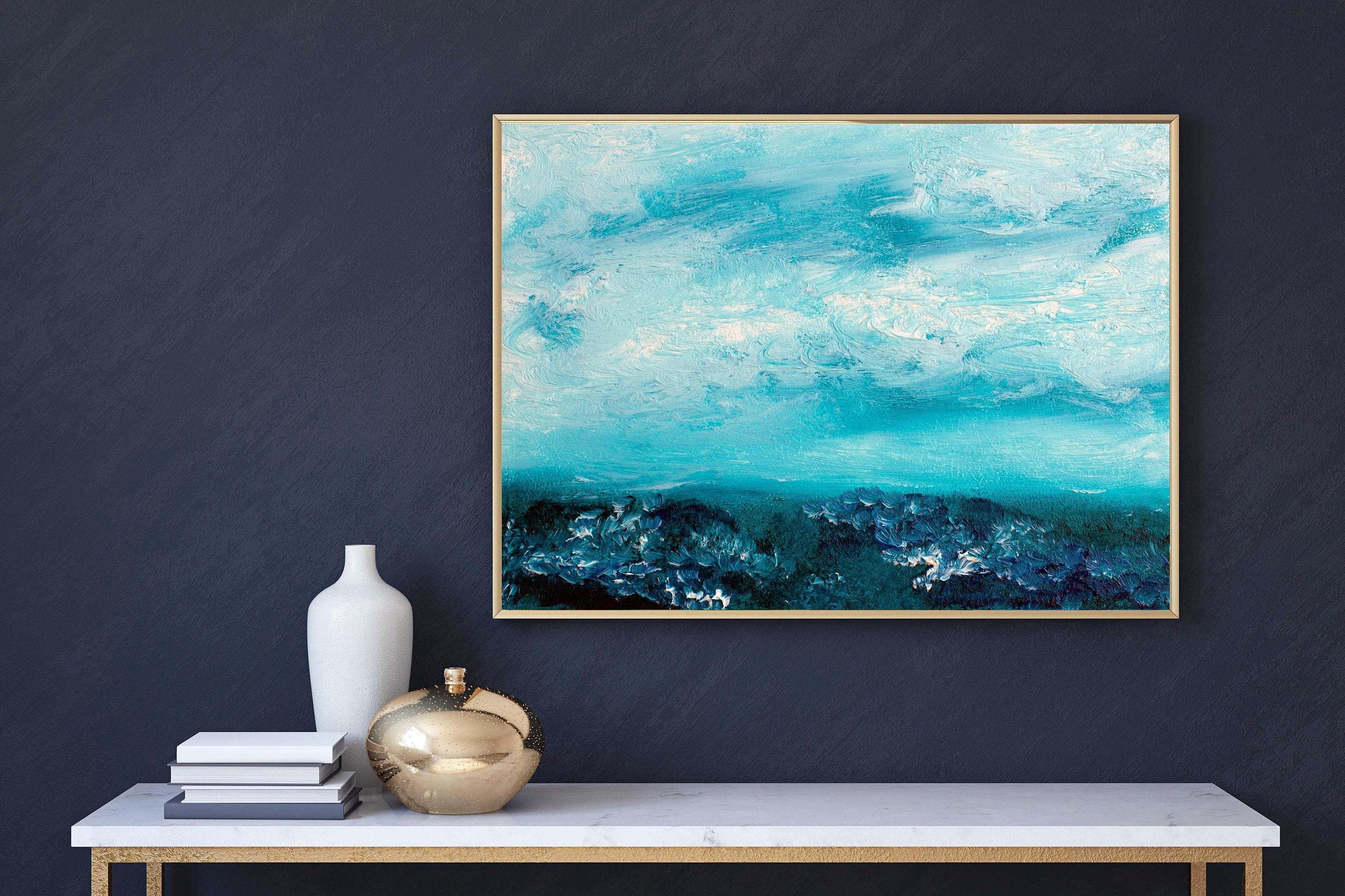 Printable artwork panoramic wall art seascape wall art lake painting deep sea seascape painting instant download