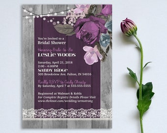Purple Rose Floral Bridal Shower Invitation Rustic Gray Wood Ivory Lace Barn Wedding