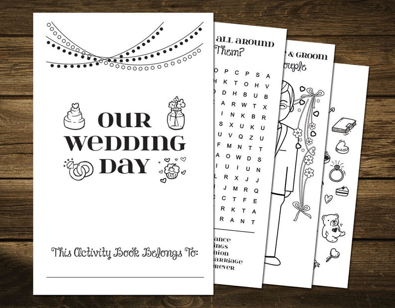graphic about Printable Wedding Activity Book known as Printable Marriage ceremony Match E book for Youngsters, Wedding ceremony Coloring E book Immediate Obtain, Wedding ceremony Game titles Printable, Small children Wedding day Functions