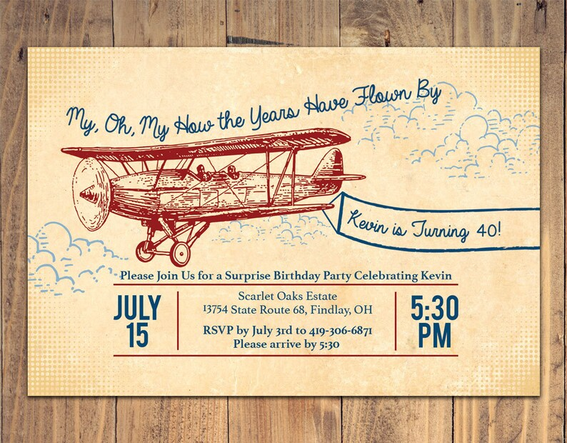 Vintage Airplane Surprise Birthday Invitation For Him 40th