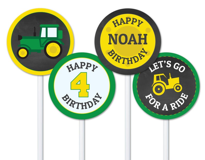 Green Yellow Tractor Cupcake Topper Download Tractor Etsy