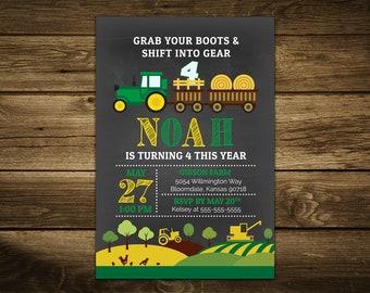 Green Tractor Birthday Invitation, Tractor Invitation, Farm Birthday Party, Boy Chalkboard Invitation, Personalized Invitation, Digital File