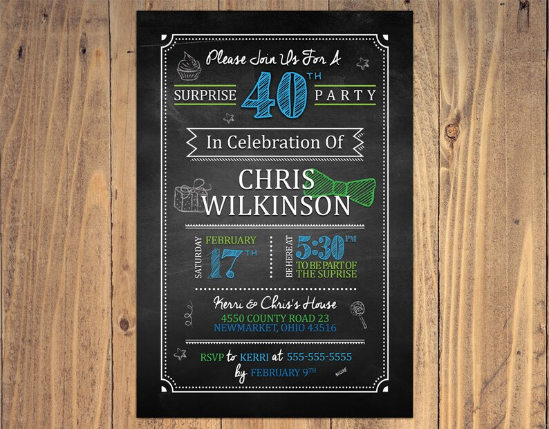 40th Surprise Birthday Invitation Chalkboard For