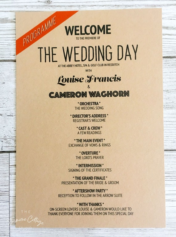 order of service programme of events retro themed wedding etsy