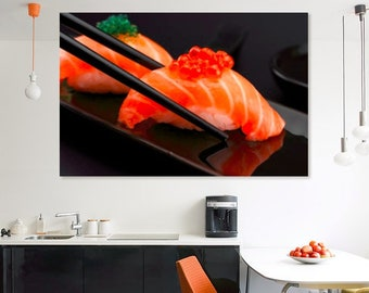 Sushi Canvas Wall Art Sushi Print Sushi Art Sushi Decor Japanese Decor Sushi Lover Gift Sushi Wall Art Sushi Poster Kitchen Decor Canvas Art