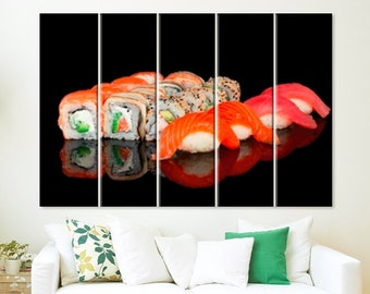Sushi Canvas Print Sushi Gift Sushi Art Sushi Decor Restaurant Decor Sushi Lover Gift Sushi Wall Art Sushi Bar Decor Kitchen Decor Japanese