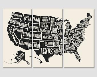 Usa map wall art | Etsy
