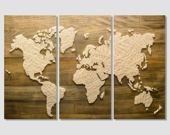 Wood panel world map etsy more colors world map on wood canvas print gumiabroncs Choice Image