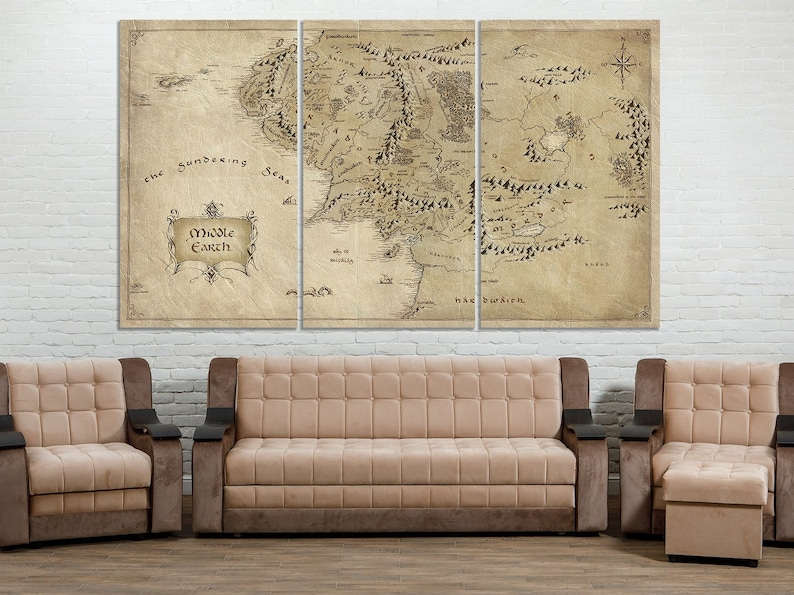 Lord of The Rings Map Middle Earth Map Canvas Print LOTR Map | Etsy