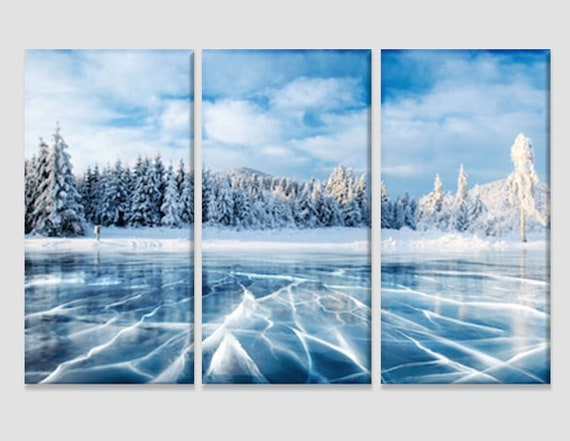 3 Panel Total Size 120x80cm ABSTRACT  ART CANVAS  DIGITAL FROZEN Blue